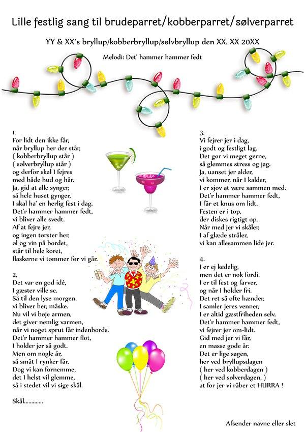 Lille festlig sang til brudeparret - Gratis-Festsange.dk