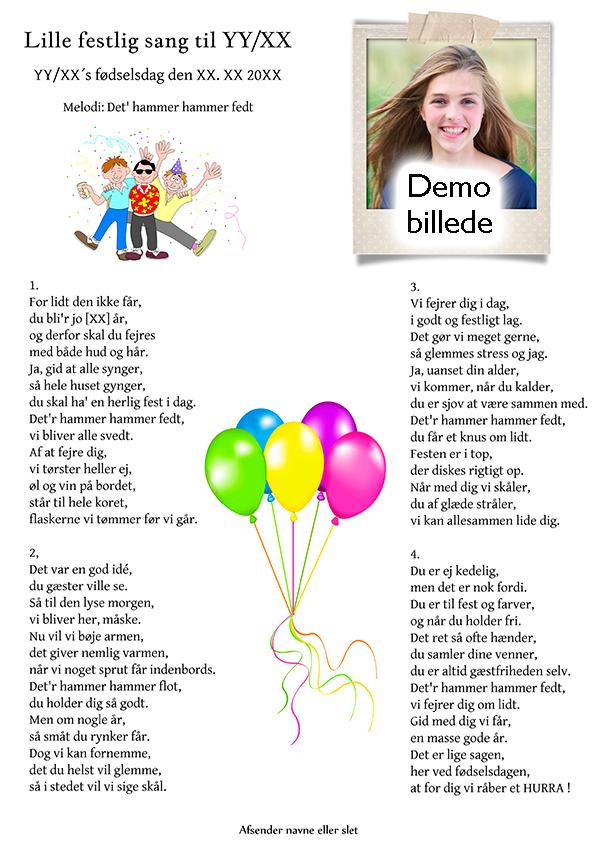 Lille festlig sang til fødselaren design nr 2