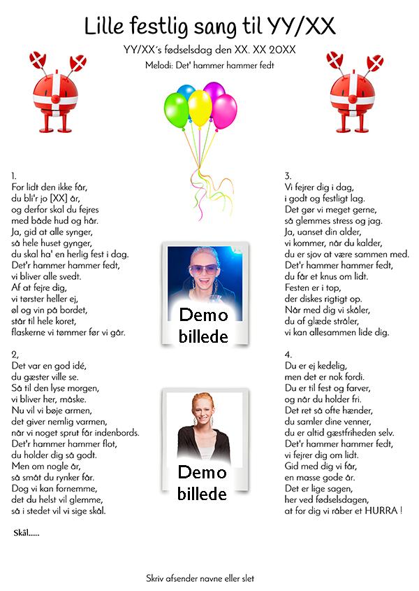 Lille festlig sang til fødselaren design nr 3