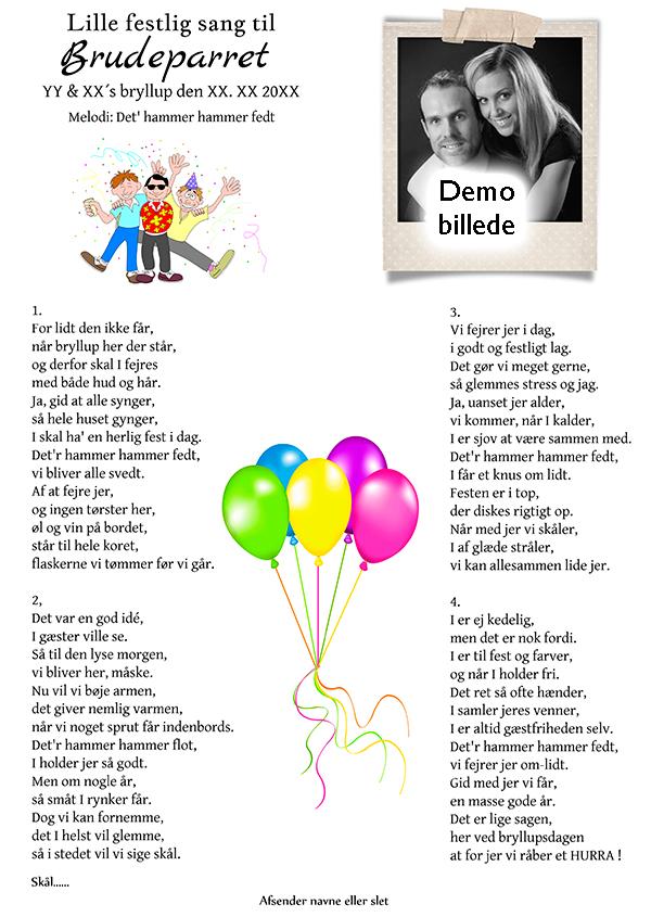 Lille festlig sang til brudeparret design nr 2