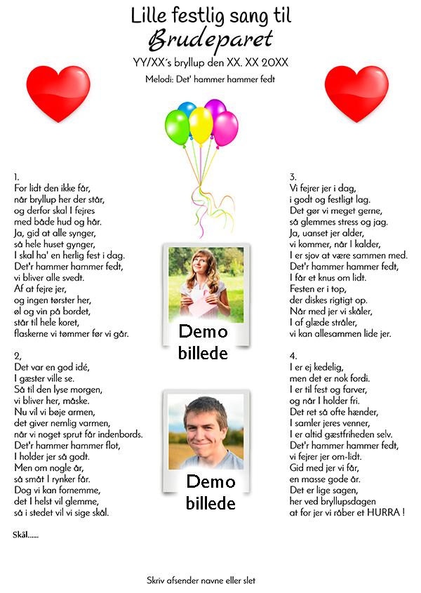 Lille festlig sang til brudeparret design nr 3