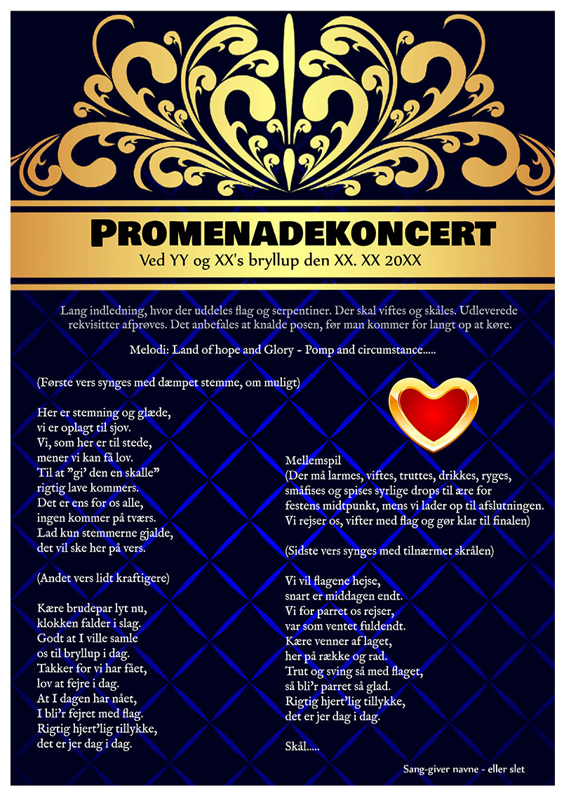 Promenadekoncert til bryllup med rekvisitter