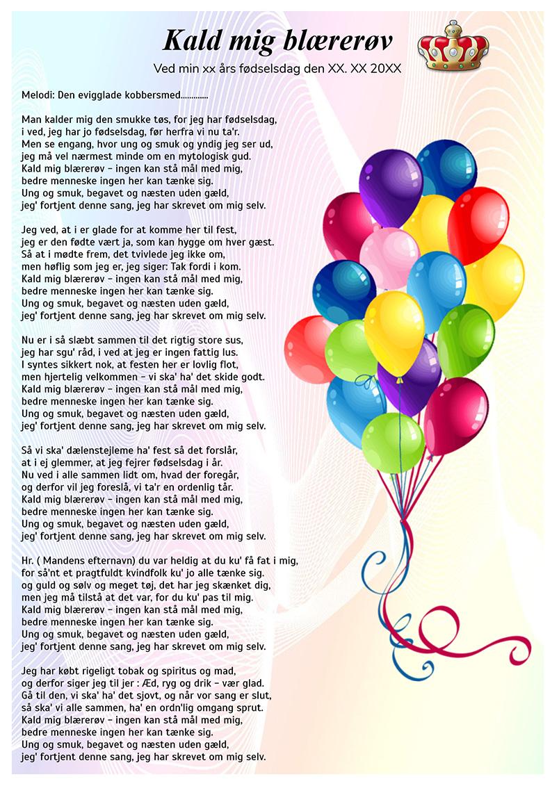 sang 40 års fødselsdag sjov
