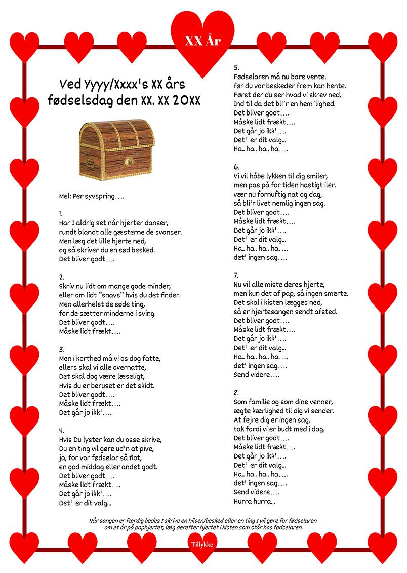 Hjertesang med paphjerter og kiste