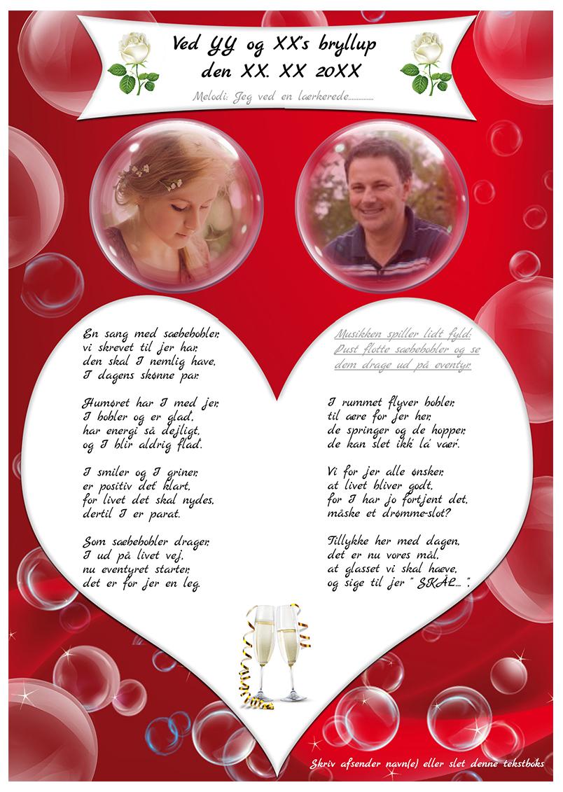 Sæbeboble sangen bryllup med 2 billeder
