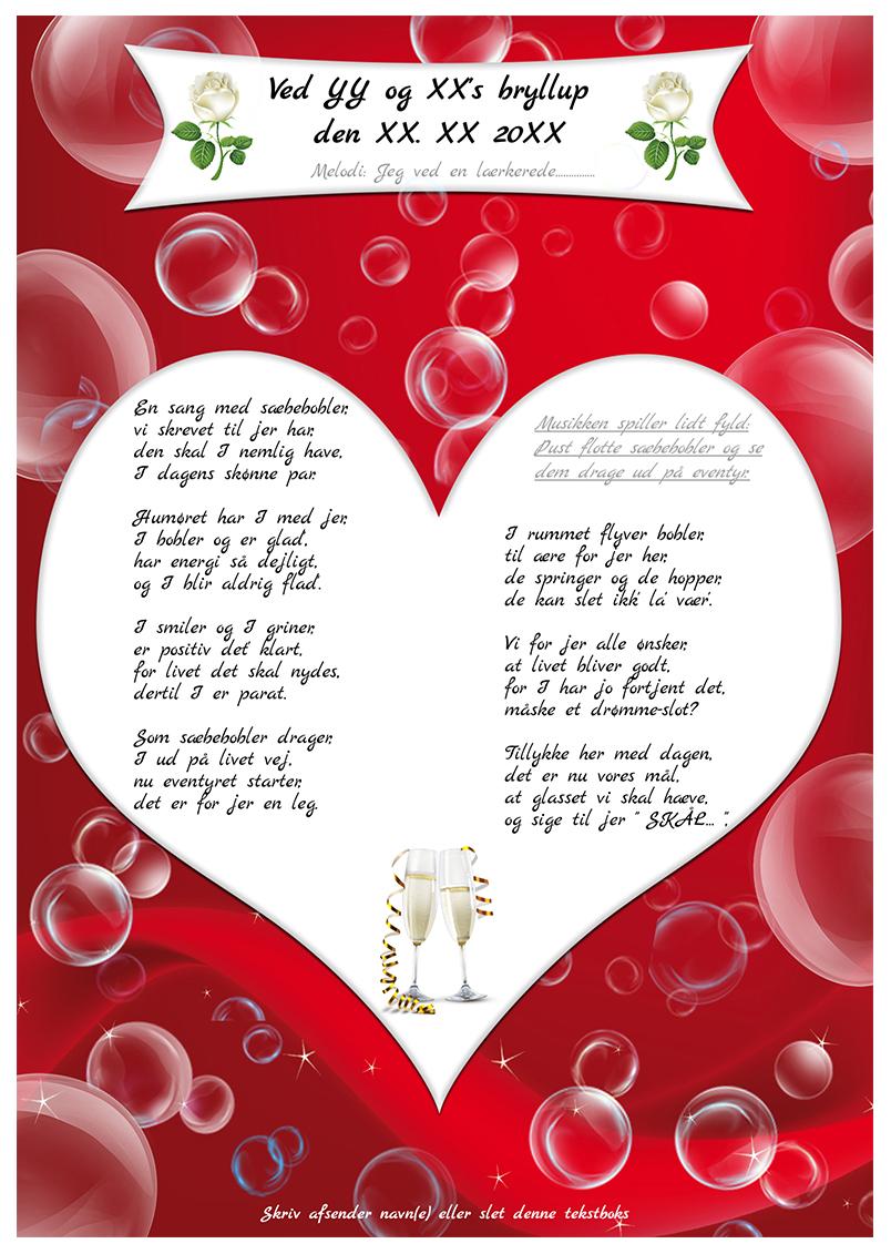 Sæbeboble sangen til bryllup uden personligt billede
