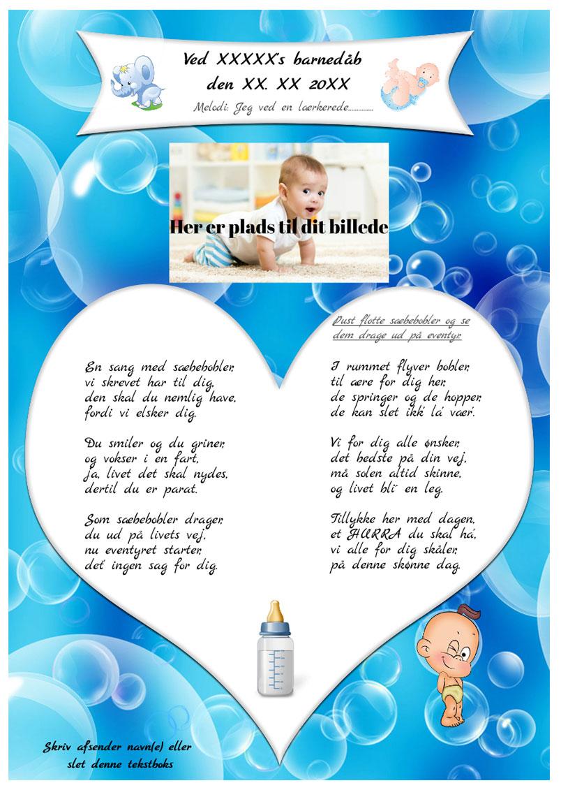 Sæbeboblersangen til barnedåb - dreng