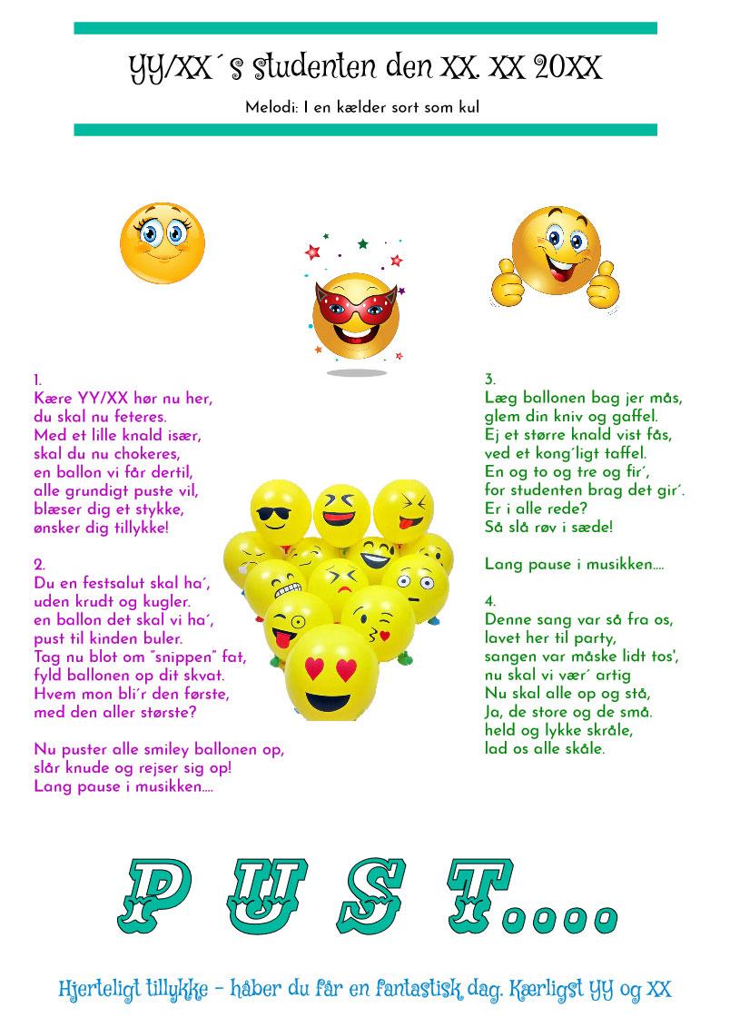 Smiley ballonsang til studenten