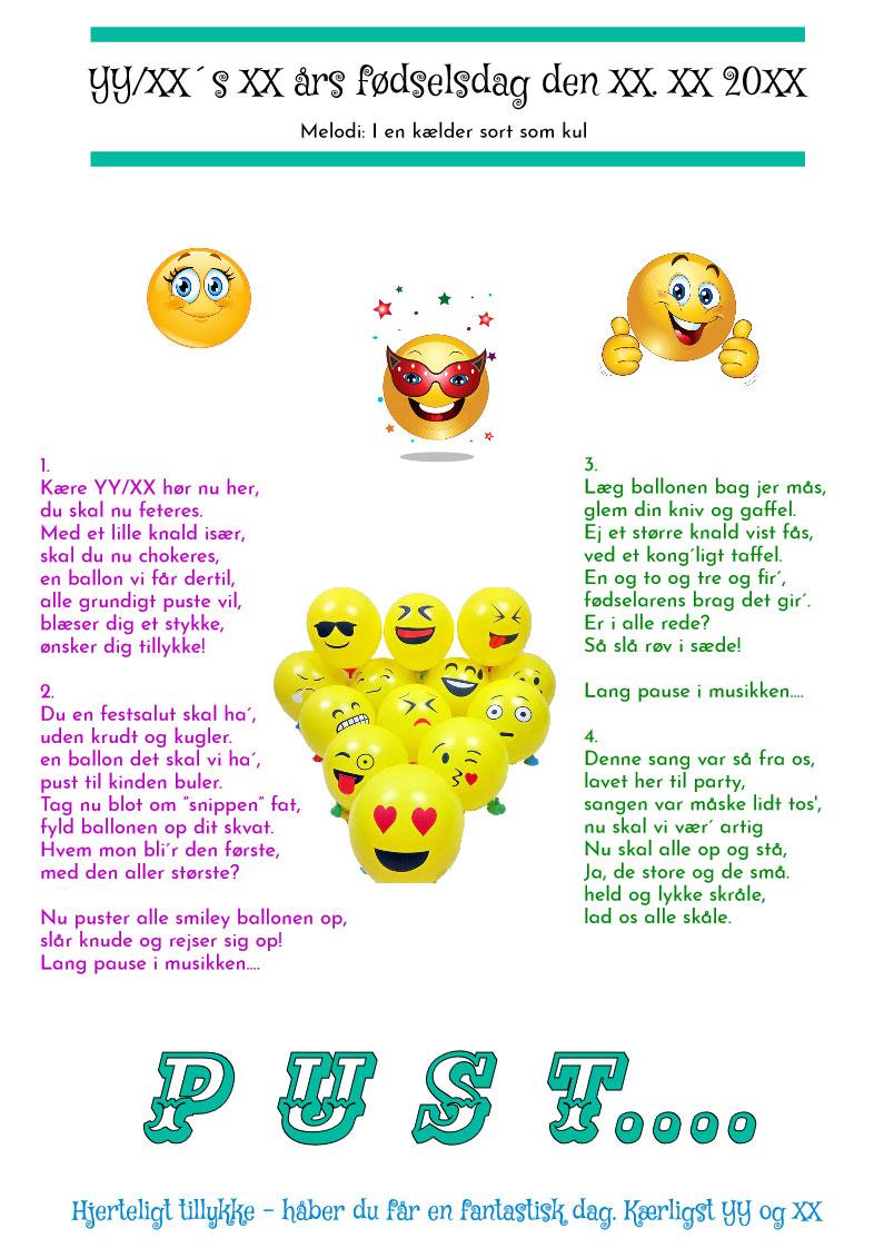 Smiley ballonsangen til fødselaren