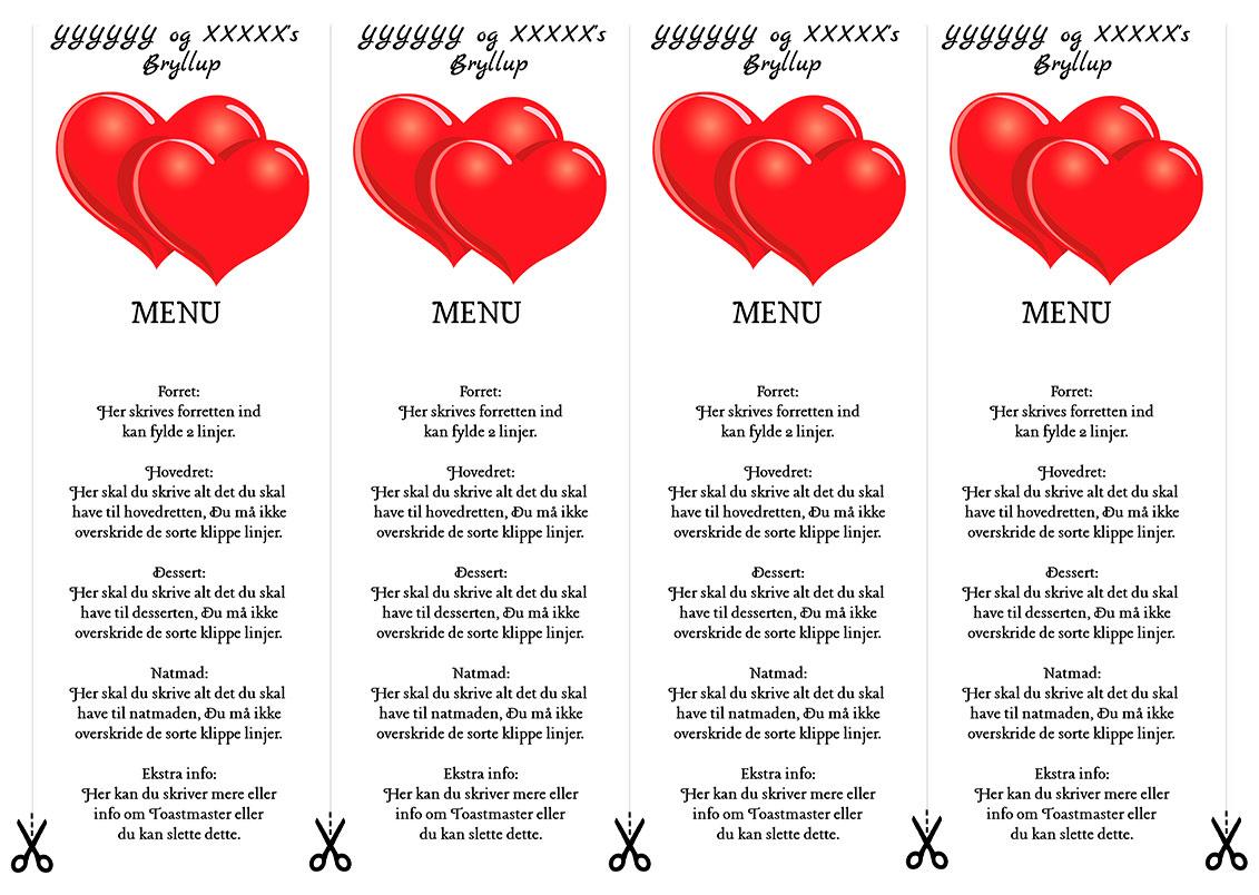 Menu med røde hjerter til bryllup