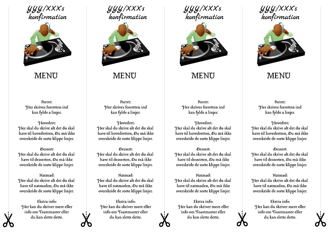 Menu DJ til konfirmation