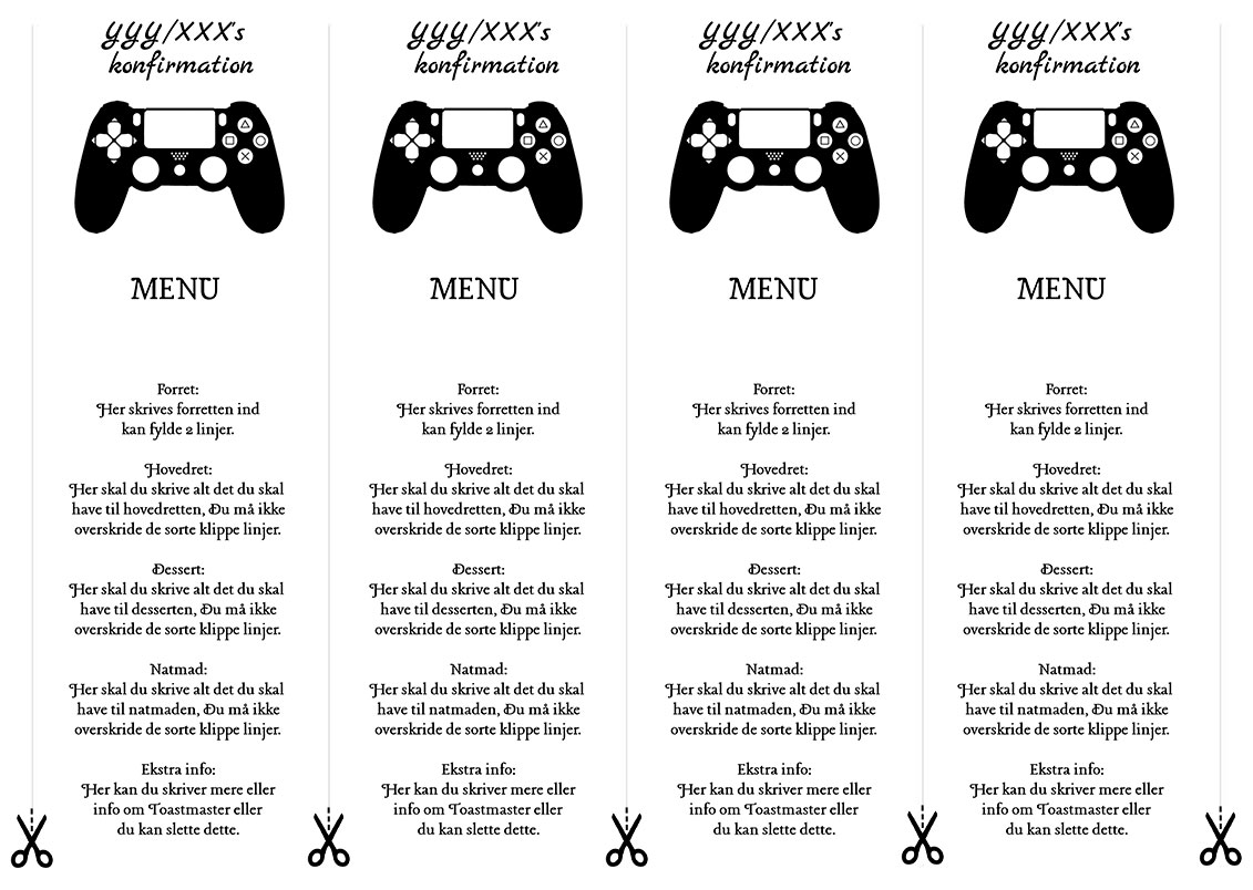 Menu med Gamekontroller til konfirmation