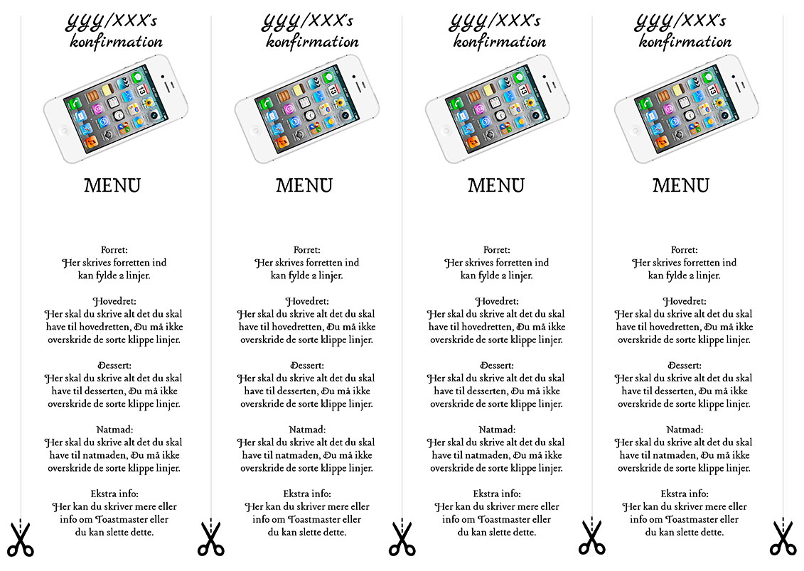 Menu hvid iphone til konfirmation