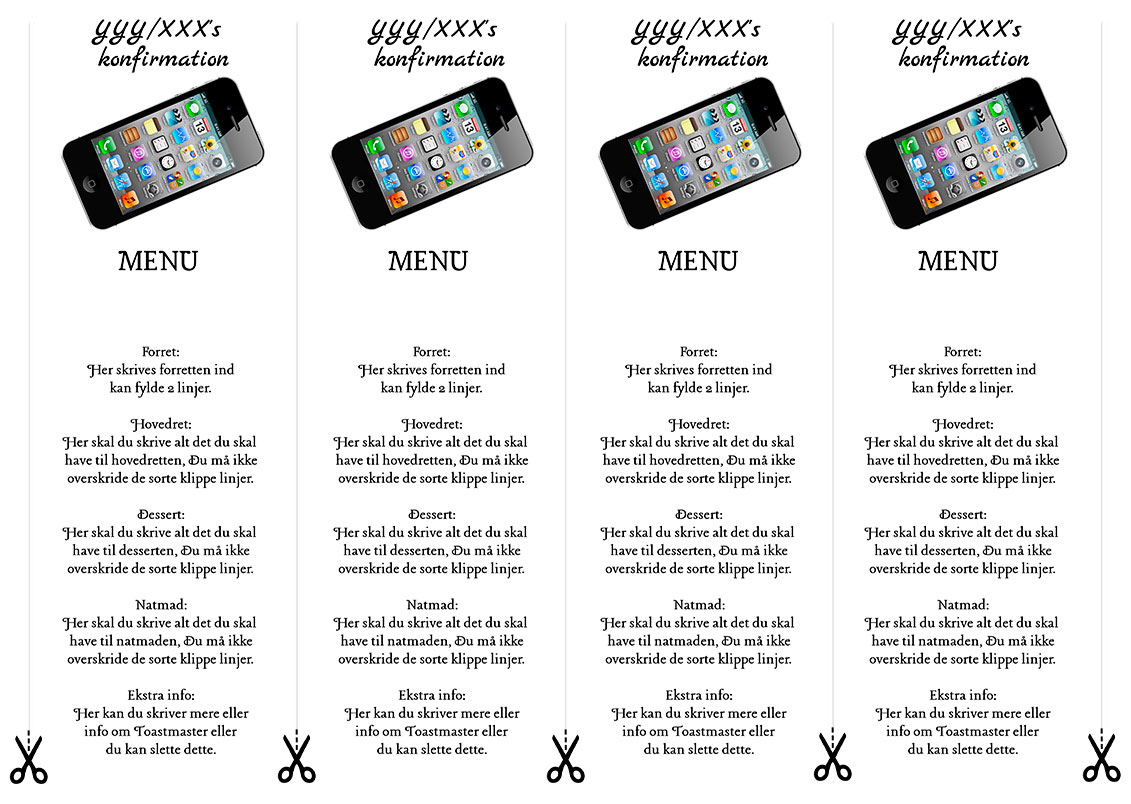 Menu sort iphone til konfirmation