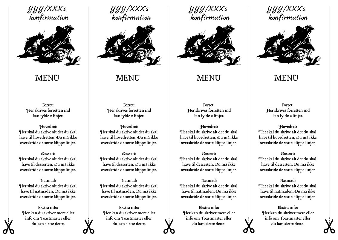 Menu Motor til konfirmation