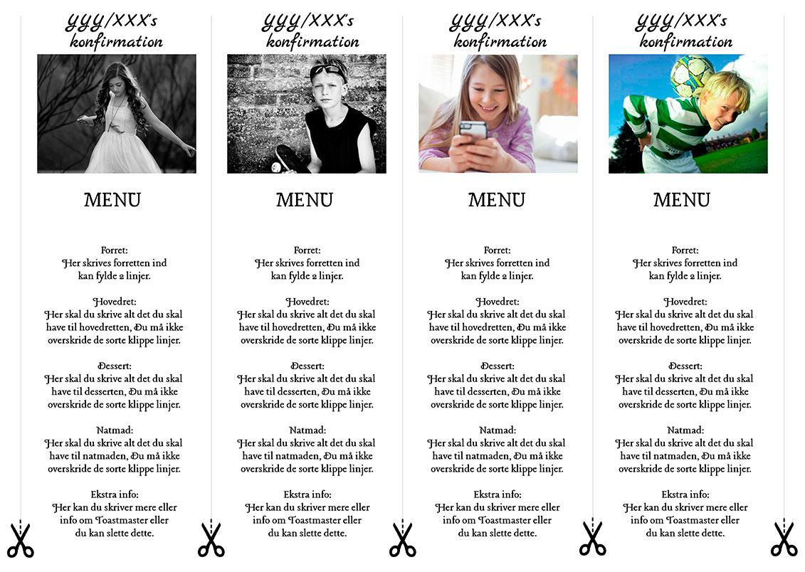menu med billede til konfirmation