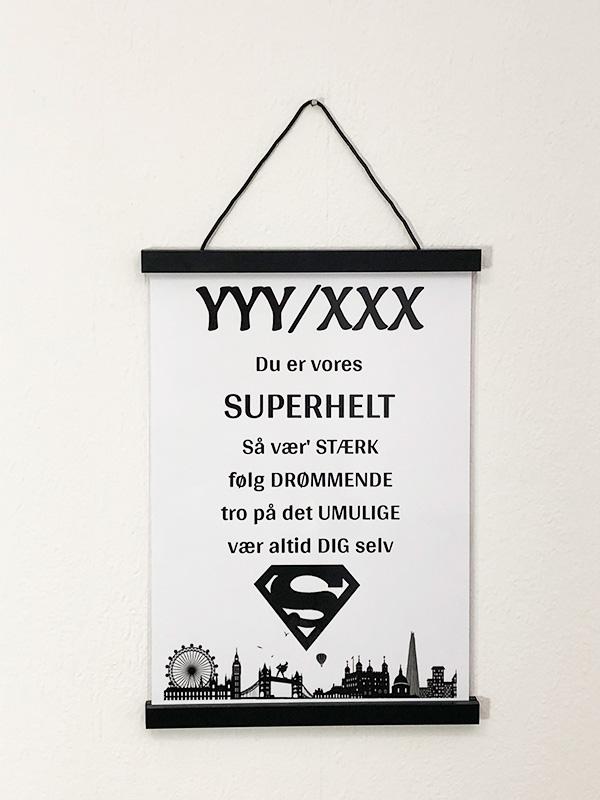 Plakat til konfirmation - Superhelt
